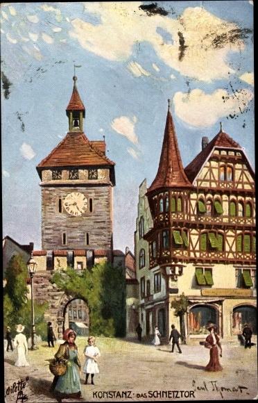 Künstler Ak Thomas, Paul, Konstanz am Bodensee, Passanten am Schnetztor, Tucks No. 684 B 0