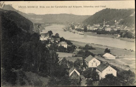 Ak Krippen Bad Schandau Sächsische Schweiz, Blick von der Carolahöhe 0