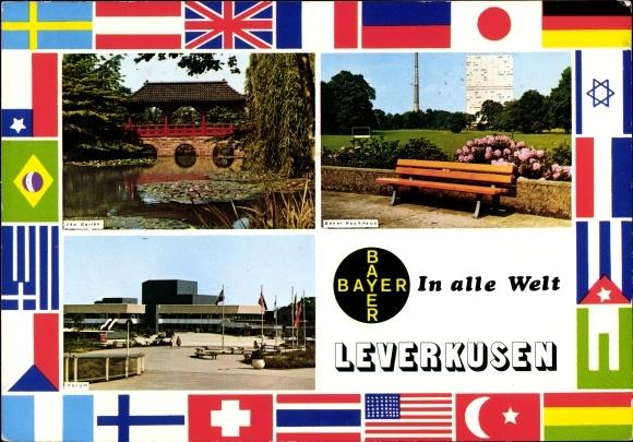 Ak Leverkusen im Rheinland, Bayer Hochhaus, Japanischer Garten, Forum, Fahnen 0