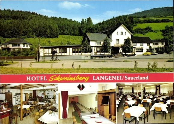 Ak Langenei Lennestadt Sauerland, Hotel Schweinsberg, Haus der Bundeskegelbahnen, Restaurant 0