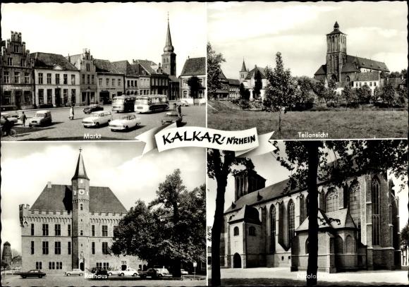 Ak Kalkar Westfalen, Markt, Teilansicht, Rathaus, Nicolaikirche 0