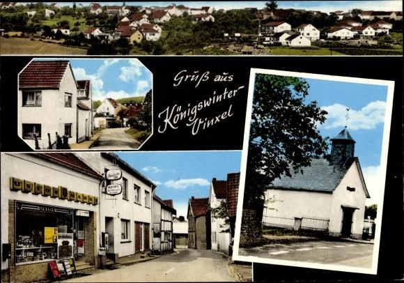 Ak Königswinter am Rhein, Vinxel, Panorama, Straßenpartie, Kirche, Union Markt 0