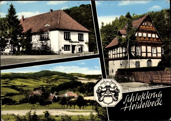 Ak Kalletal in Lippe, Panorama, Schloßkrug Heidelbeck, Außenansicht 0