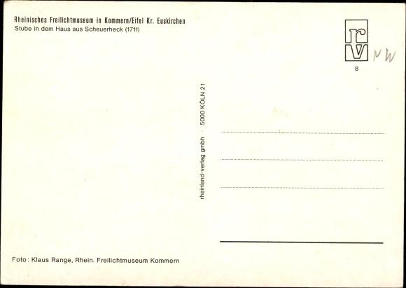 Ak Kommern Mechernich in der Eifel, Freilichtmuseum, Stube in dem Haus aus Scheuerheck 1