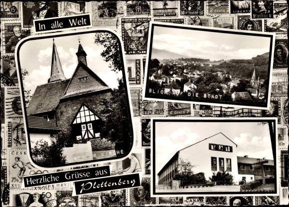 Ak Plettenberg im Märkischen Kreis, Blick auf die Stadt, Böhler Kirche, Jugendherberge 0