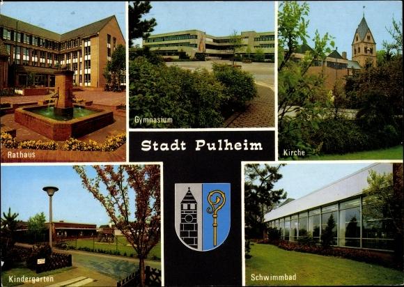 Ak Pulheim Nordrhein Westfalen, Rathaus, Gymnasium, Kirche, Kindergarten, Schwimmbad, Wappen 0