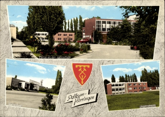Ak Pelkum Herringen Hamm in Westfalen, Partie an der Jahnschule, Hallenbad, Jugendheim, Wappen 0