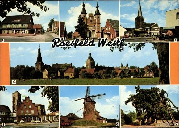 Ak Raesfeld im Münsterland, Partie an der Apotheke, Schlosskapelle, Ortsmitte, Alte Mühle 0