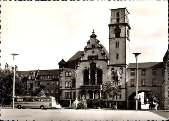 Ak Rheydt Mönchengladbach im Ruhrgebiet, Rathaus, Linienbus 0