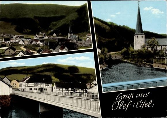 Ak Olef Schleiden in der Eifel, Panorama, Kirche 0