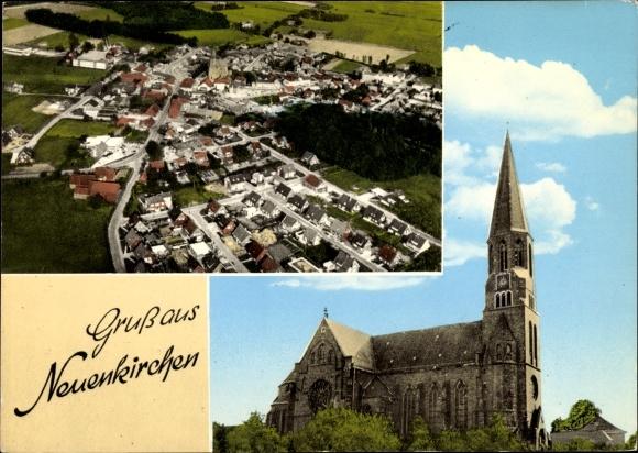 Ak Neuenkirchen in Niedersachsen, Fliegeraufnahme, Kirche 0
