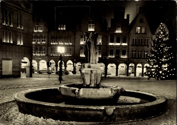 Ak Münster in Westfalen, Weihnachten am Lambertusbrunnen 0