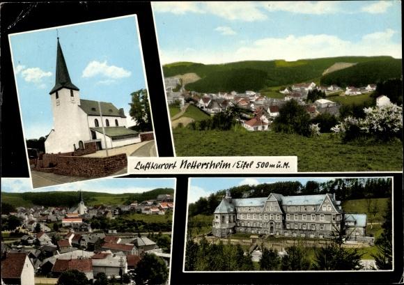 Ak Nettersheim Eifel Nordrhein Westfalen, Kurort, Kirche, Panorama vom Ort 0