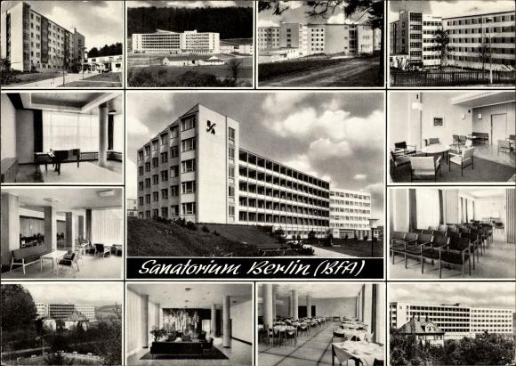 Ak Bad Driburg in Westfalen, Sanatorium Berlin BfA, Speisesaal, Gästezimmer, Außenansicht 0