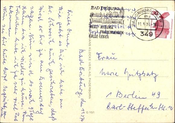 Ak Bad Driburg in Westfalen, Sanatorium Berlin BfA, Speisesaal, Gästezimmer, Außenansicht 1