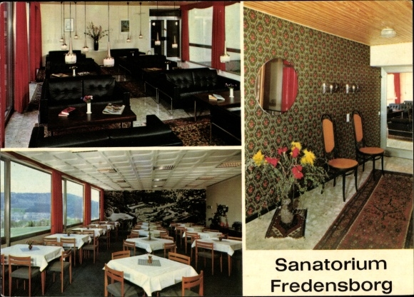 Ak Bad Berleburg in Westfalen, Sanatorium Fredensborg, Speisesaal, Innenansicht 0