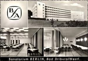 Ak Bad Driburg in Westfalen, Sanatorium Berlin BfA, Außenansicht, Speisesaal