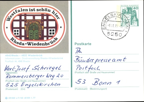 Ganzsachen Ak Rheda Wiedenbrück in Westfalen, Stadtverwaltung 0