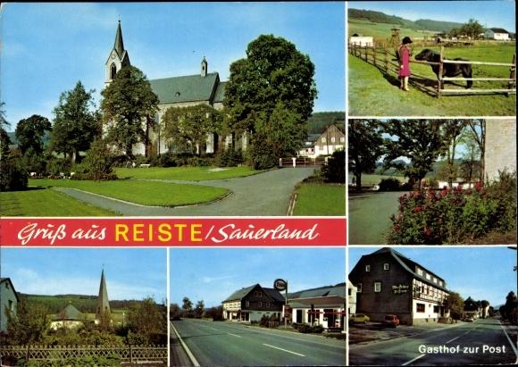 Ak Reiste im Sauerland, Gasthof zur Post, Kirche, Rosen, Pferd 0
