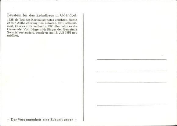 Künstler Ak Odendorf in Westfalen, Baustein für das Zehnthaus 1