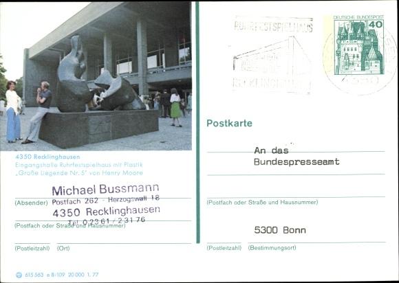 Ganzsachen Ak Recklinghausen im Ruhrgebiet, Eingangshalle Ruhrfestspielhaus mit Plastik 0
