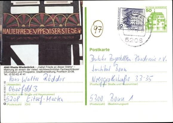 Ganzsachen Ak Rheda Wiedenbrück in Westfalen, Mahnung, Haltet Friede an dieser Stätte 0