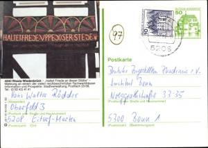 Ganzsachen Ak Rheda Wiedenbrück in Westfalen, Mahnung, Haltet Friede an dieser Stätte