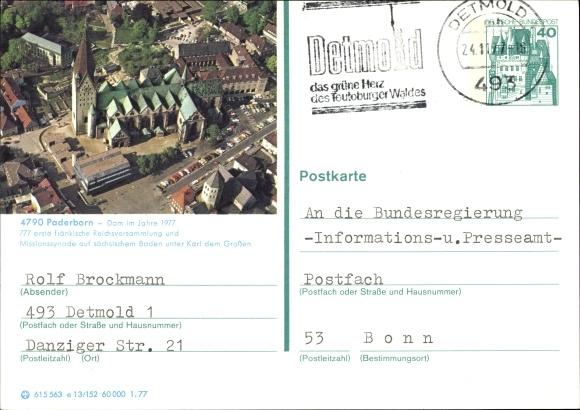 Ganzsachen Ak Paderborn in Westfalen, Dom im Jahre 1977 0