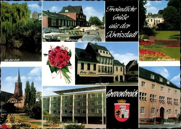 Wappen Ak Grevenbroich im Rhein Kreis Neuss, Bahnhof, Partie im Stadtpark, Rathaus, Kirche 0