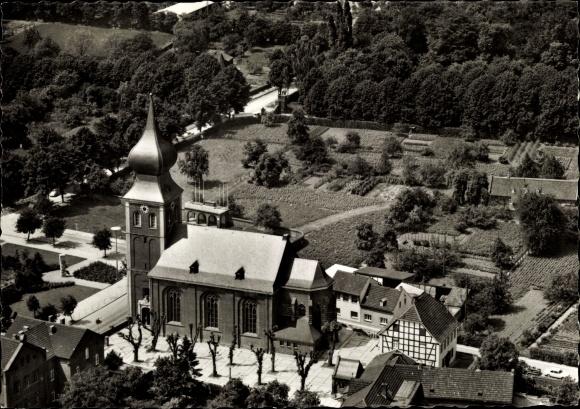 Ak Gymnich Erftstadt in Nordrhein Westfalen, Kirche, Luftbild 0