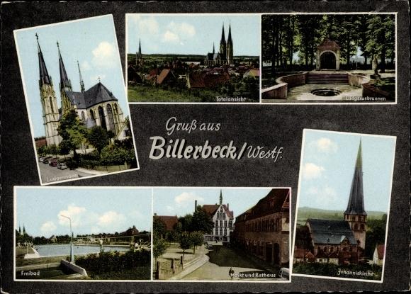 Ak Billerbeck in Westfalen, Ludgerusdamm, Ludgerusbrunnen, Johanniskirche, Markt, Freibad, Rathaus 0