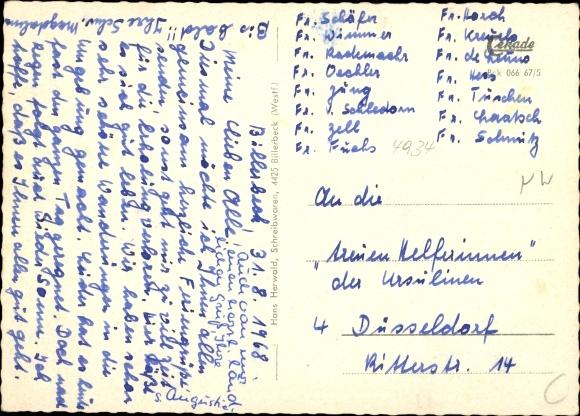 Ak Billerbeck in Westfalen, Ludgerusdamm, Ludgerusbrunnen, Johanniskirche, Markt, Freibad, Rathaus 1