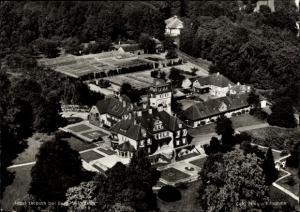 Ak Bergisch Gladbach Westfalen, Haus Lerbach, Tagungsstätte des G. Stresemann Instituts, Luftbild