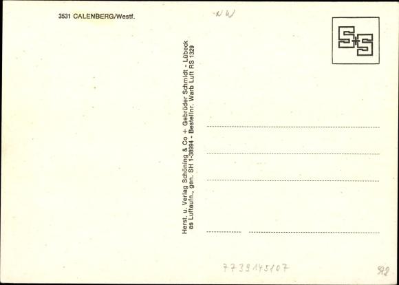 Ak Calenberg Warburg Westfalen, Luftaufnahme 1