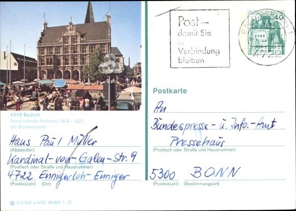 Ganzsachen Ak Bocholt im Münsterland, Renaissance Rathaus mit Blumenmarkt 0