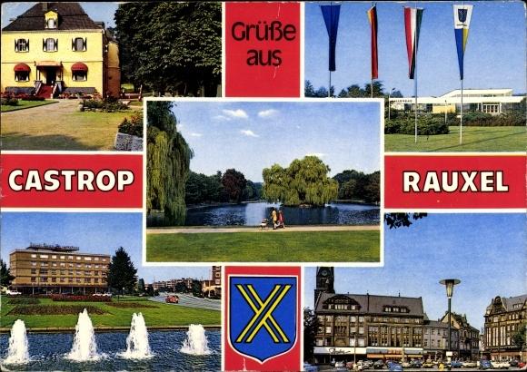 Wappen Ak Castrop Rauxel im Ruhrgebiet, Brunnen, Fahnen, Wasserpartie 0