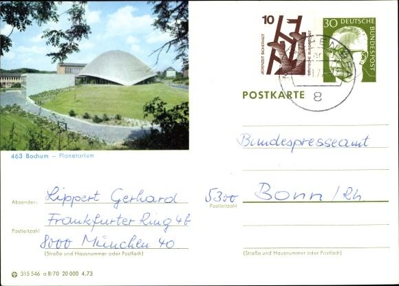 Ganzsachen Ak Bochum im Ruhrgebiet, Planetarium 0