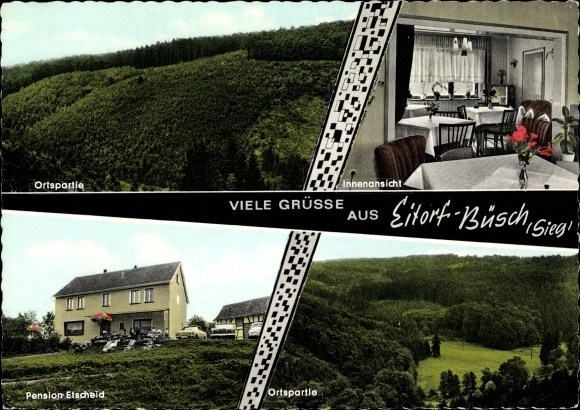 Ak Büsch Asbach Rheinland Pfalz, Privatpension Maria Etscheid, Außenansicht, Innenansicht 0
