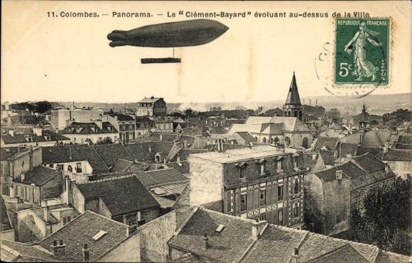 Ak Colombes Hauts de Seine, Panorama, Le Clément Bayard au dessus de la Ville 0