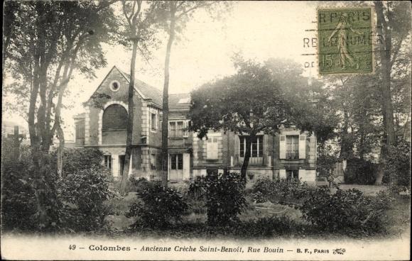 Ak Colombes Hauts de Seine, Ancienne Crèche Saint Benoit, Rue Bouin 0