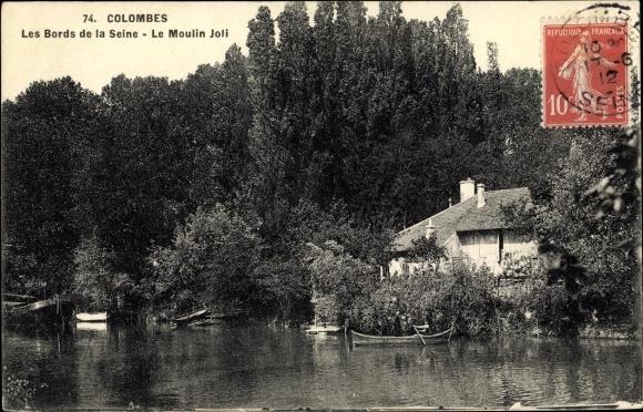 Ak Colombes Hauts de Seine, Bords de la Seine, Moulin Joli 0