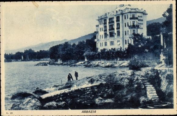 Ak Abbazia Kroatien, Partie am Wasser 0
