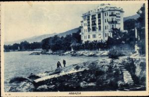Ak Abbazia Kroatien, Partie am Wasser