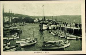Ak Abbazia Kroatien, Bootshafen