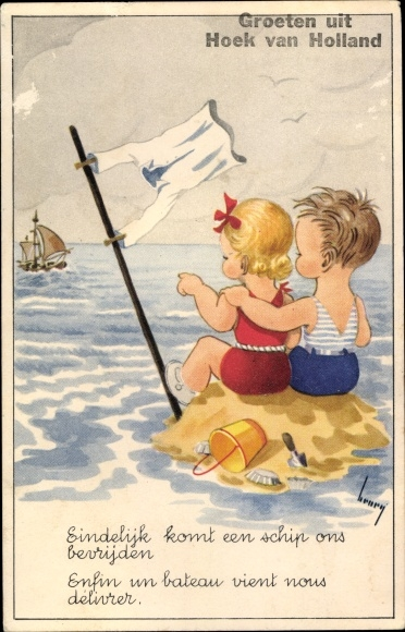 Künstler Ak Hoek van Holland Rotterdam Südholland Niederlande, Kinder schauen auf die See, Segelboot 0