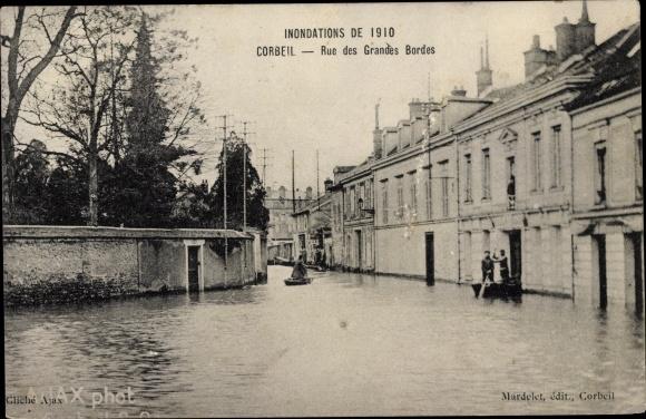 Ak Corbeil Essonne, Inondations de Janvier 1910, Rue des Grandes Bordes 0