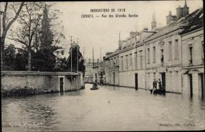 Ak Corbeil Essonne, Inondations de Janvier 1910, Rue des Grandes Bordes