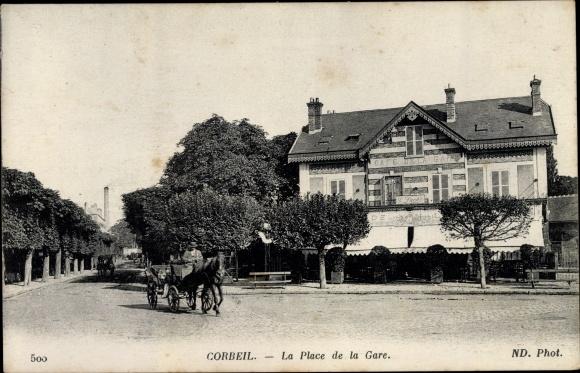 Ak Corbeil Essonne, Place de la Gare 0