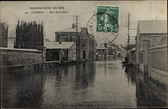 Ak Corbeil Essonne, Inondations de 1910, Rue Saint Spire 0