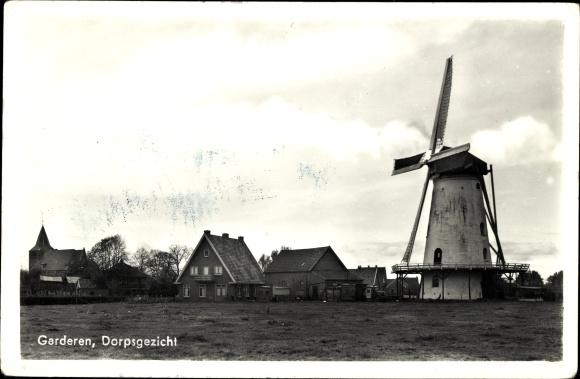 Ak Garderen Gelderland, Dorpsgezicht, Windmühle 0